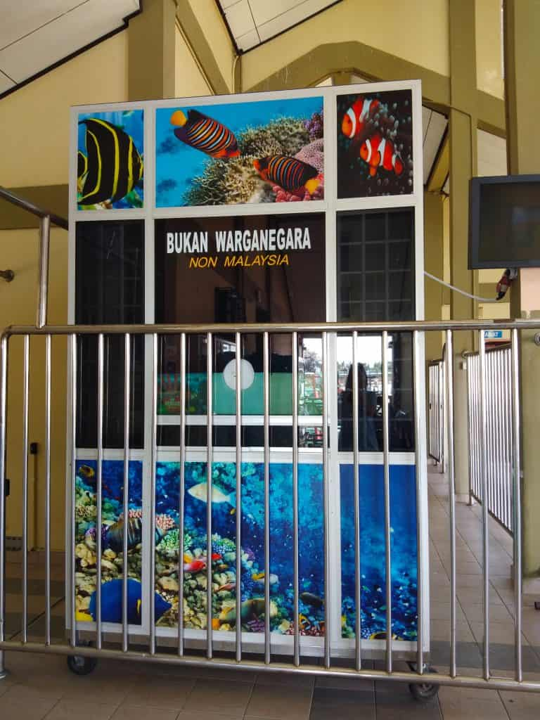 The conservation fee payment booth at Kuala Besut jetty.