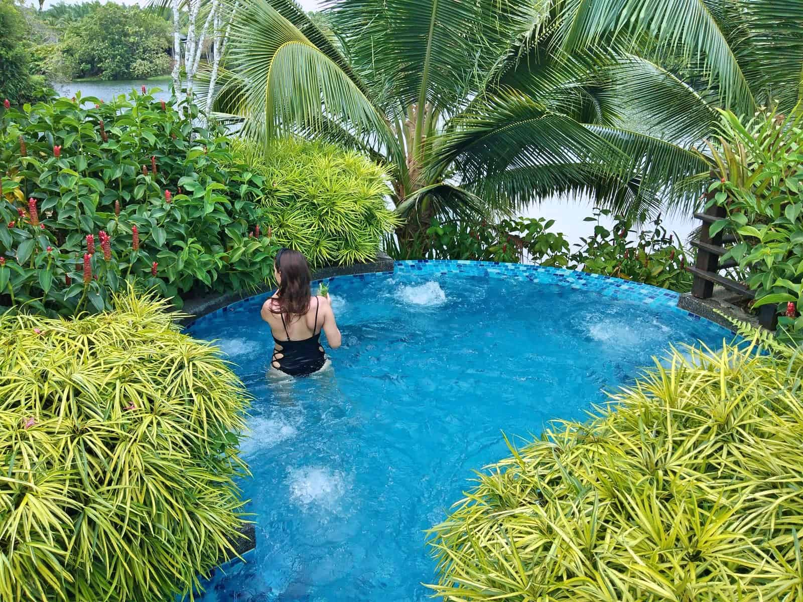 In the jacuzzi at Mangala Resort and Spa in Malaysia // travelmermaid.com