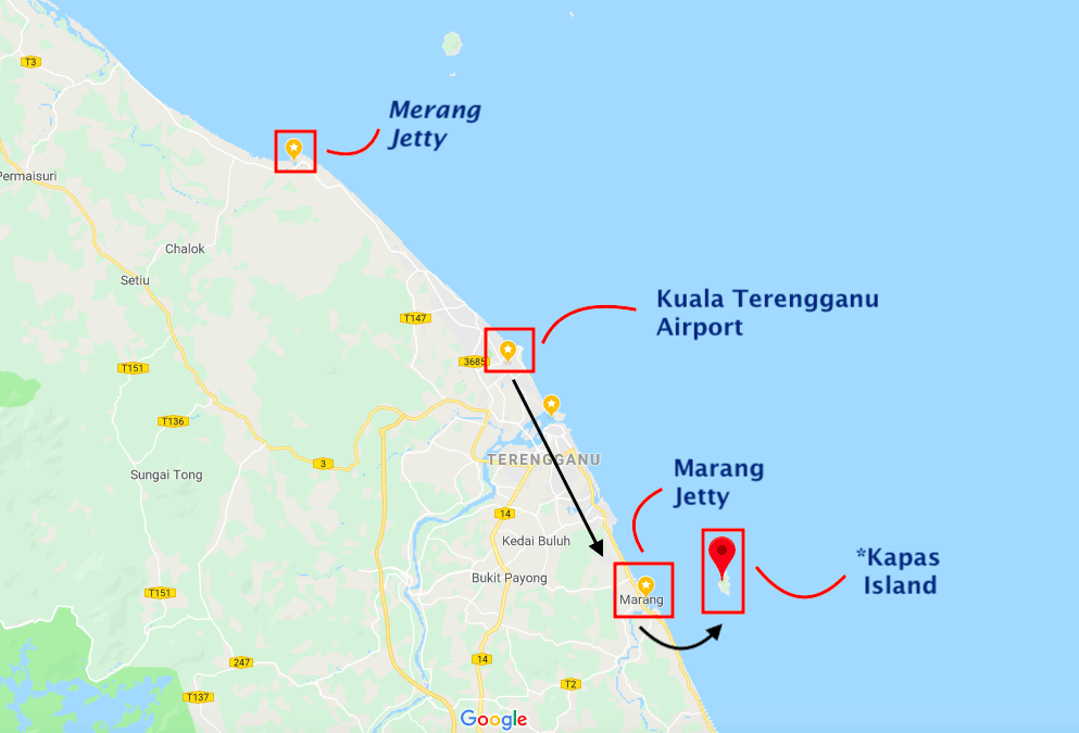 A map of how to get to Kapas Island in Malaysia // travelmermaid.com