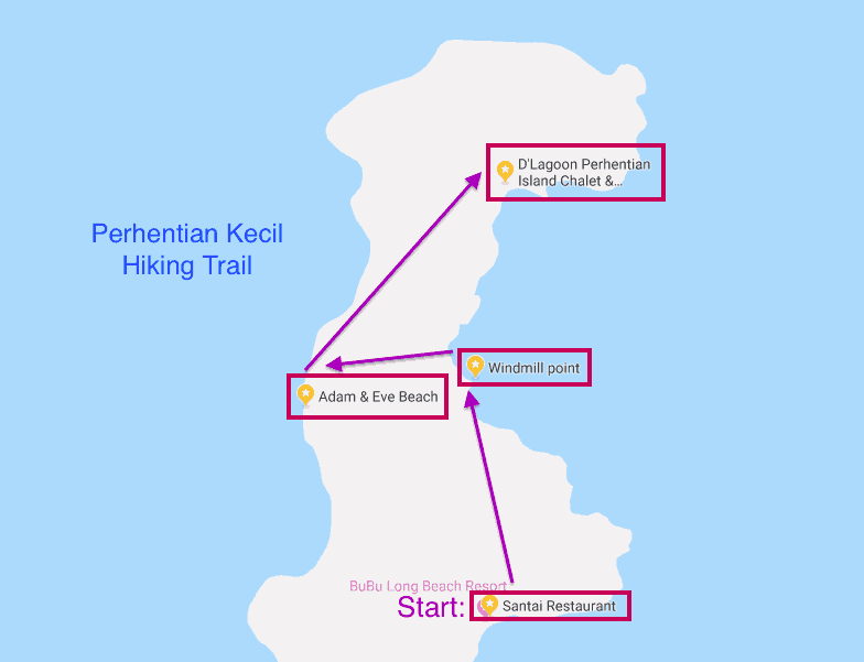 iking route for Malaysia's Perhentian Kecil island.