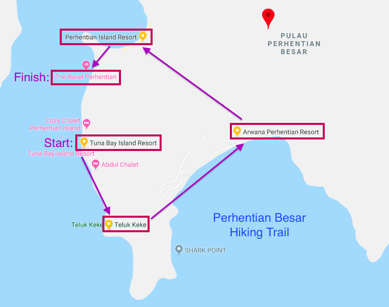 Hiking map for Perhentian Besar island.