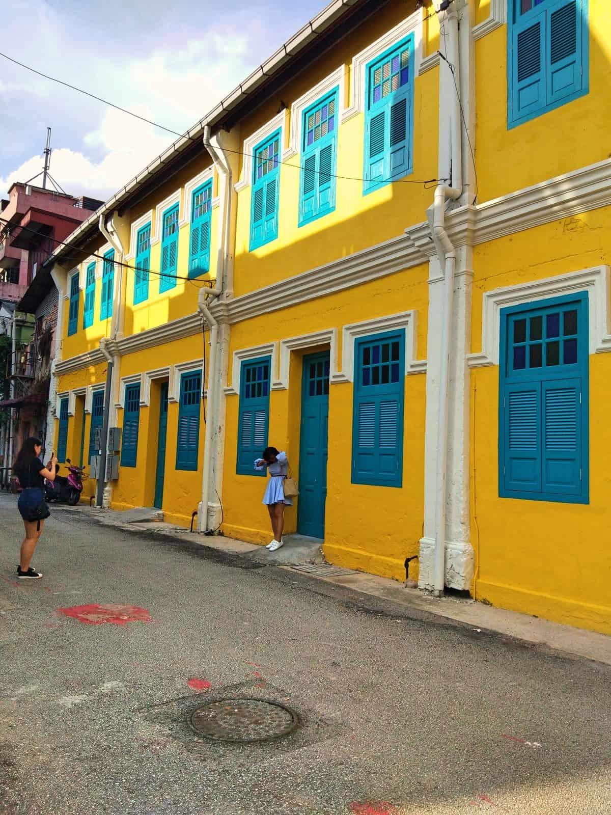Yellow Chinese Shophouses in Chinatown, Kuala Lumpur