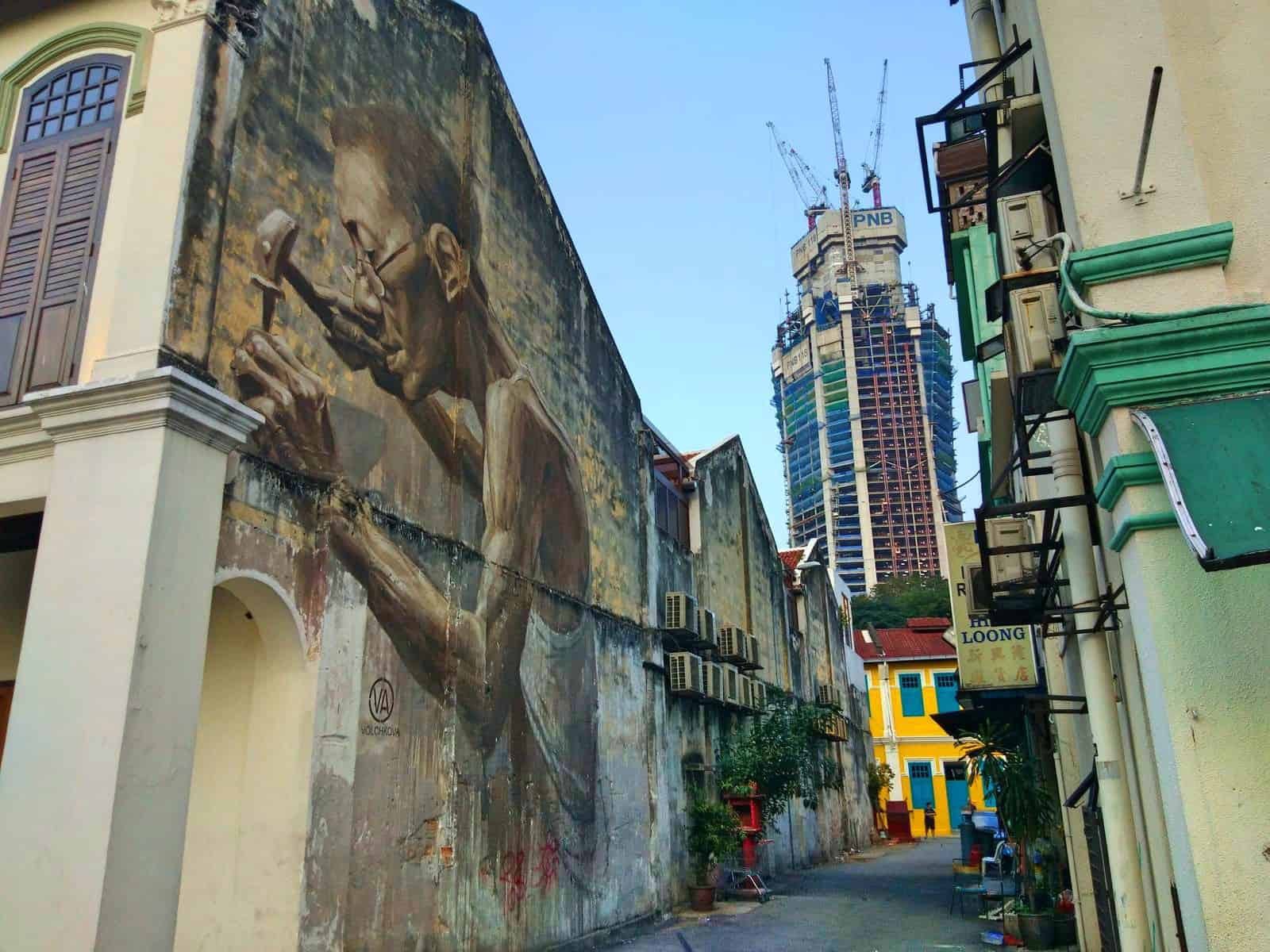 The Goldsmith mural in Chinatown, Kuala Lumpur