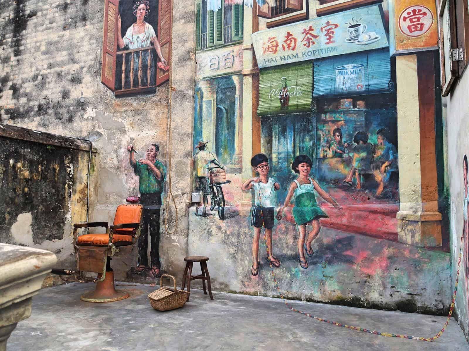 Murals in Kwai Chai Hong heritage lane, located in Kuala Lumpur's Chinatown