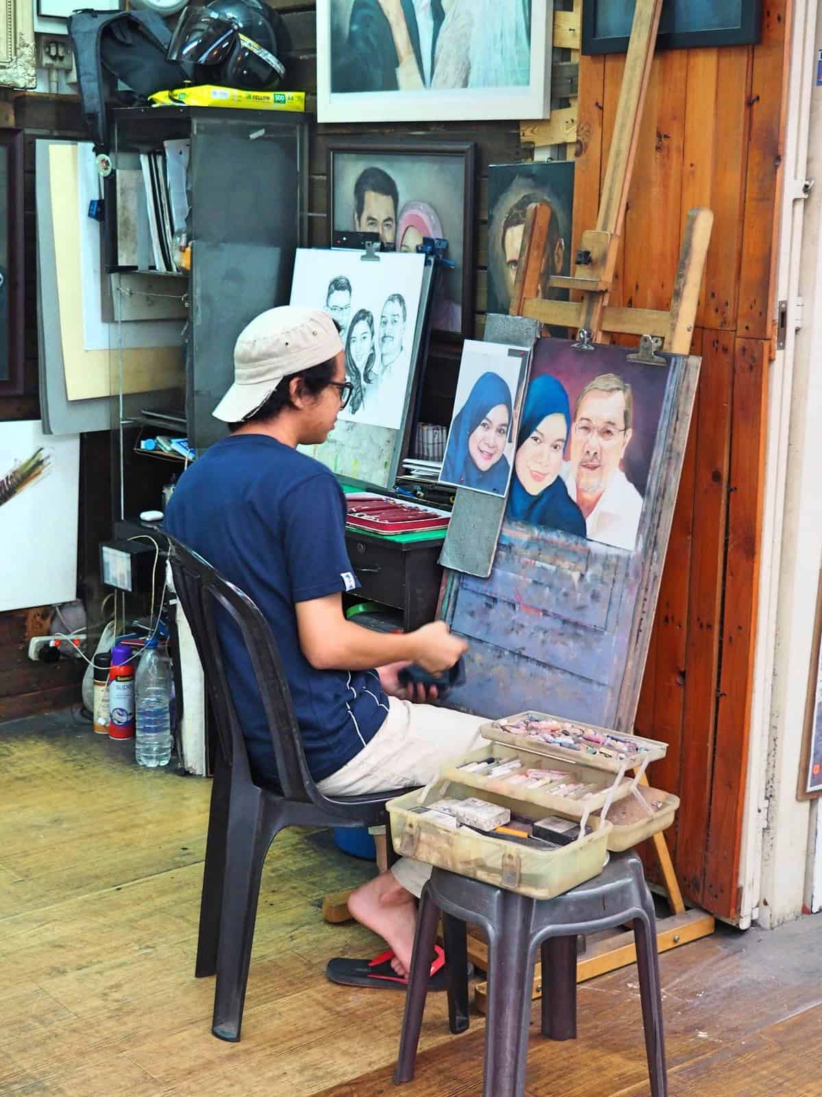 portrait-artist-Central-Market-Chinatown-Kuala Lumpur-Malaysia-Travel-Mermaid
