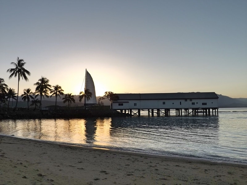 A sunset overlooking the Sugar Wharf in Port Douglas, Queensland